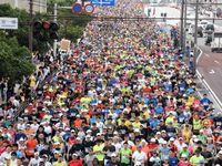 NAHAマラソン3日開催 明治橋交差点前をスタート