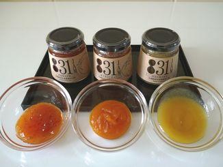 831ジャムとして販売している(左から)トマトジャム、かぼちゃジャム、へちまジャム。