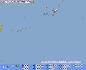 渡名喜村で震度2を観測(気象庁HPより)