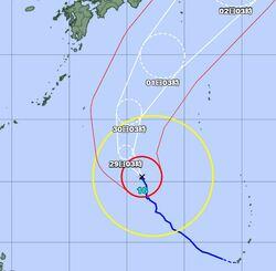 【拡大図】台風16号の経路図