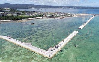 新基地建設が進むキャンプ・シュワブ沿岸=6月29日、名護市辺野古(小型無人機で撮影)