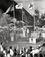 【53年前の嘉陽の聖火台】はちきれるばかりに打ち振られる日の丸に迎えられ、嘉陽に着いた聖火=1964年9月8日、久志村(現・名護市)嘉陽