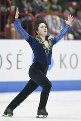 2018年3月、フィギュアスケートの世界選手権で演技する宇野昌磨=ミラノ(共同)