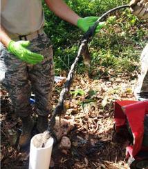 2014年10月、牧港補給地区で起きた汚水流出事故の復旧作業を撮影した写真。米軍への情報公開請求で入手した