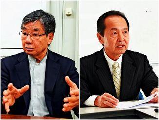 名護市長選に立候補を予定している(左から)稲嶺進氏と渡具知武豊氏