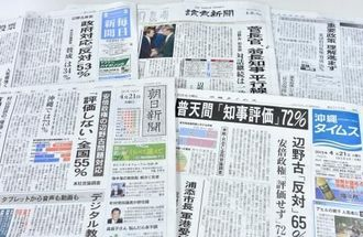 辺野古問題に対する世論調査や、翁長知事と安倍首相の会談を報じる紙面