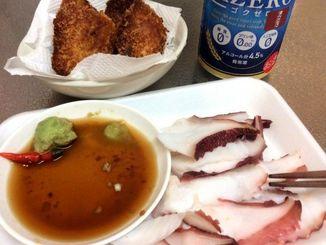今日の夕ご飯はガーリック味の魚フライとタコ刺し!