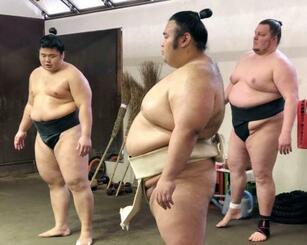 稽古中の貴景勝(中央)=26日、東京都台東区の千賀ノ浦部屋