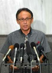 沖縄防衛局の不服申し立てに抗議する玉城デニー知事=17日午後4時半すぎ、県庁