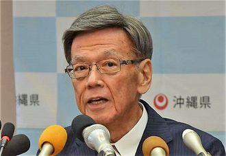 「膵がんとの診断結果を受けた」と語る翁長雄志知事=15日午後1時半すぎ、沖縄県庁