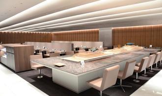 那覇空港内にオープンする建築家の隈研吾氏が監修した「ANA スウィート・ラウンジ」=26日、那覇空港