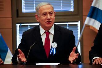 イスラエル・エルサレムでの会合で話すネタニヤフ首相=3日(AP=共同)