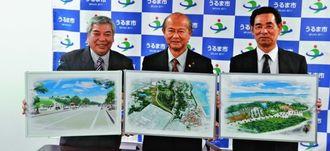 勝連城跡周辺文化観光拠点整備基本計画を発表する島袋俊夫市長(中央)=うるま市役所