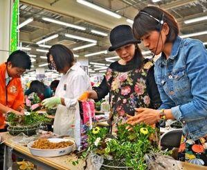 植え方のこつを教える杉井志織さん(右)=27日、浦添市城間のメイクマン浦添本店