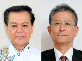 南城市長選挙:(左から)古謝景春氏と瑞慶覧長敏氏