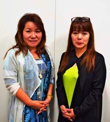 西日本豪雨を受けて愛媛への寄付の報告をする、ビット琉球KILARAの山入端マリ子代表取締役(左)と南城市街興しプロジェクトチームの新垣加代子さん=17日、沖縄タイムス社