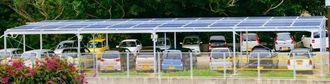 太陽光パネル設置などCO2排出削減に取り組む南都の計画が、「J―クレジット制度」で認証された=南城市のおきなわワールド