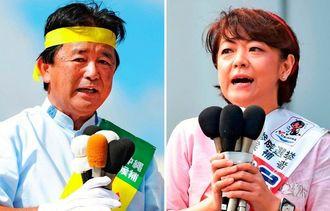 参院選への立候補を届け出た島尻安伊子氏(右)と伊波洋一氏