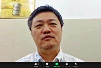 ビデオ会議システム「Zoom(ズーム)」で、質問に答えるオリオンビールの早瀬京鋳社長=29日