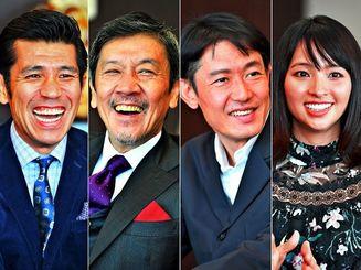 映画「洗骨」(左から)照屋年之監督、奥田瑛二、筒井道隆、水崎綾女