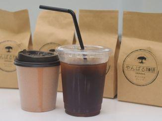 「やんばる珈琲」を使用したアイスコーヒー(右)とホットコーヒー=3日、名護市宮里・「はるさんのコーヒー店」
