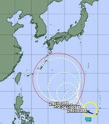 台風16号の経路図(気象庁HPから)