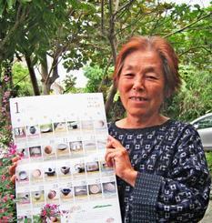 ウチナーグチカレンダーを手にする仲西美佐子さん。一日ひとつずつ言葉と写真を掲載した=恩納村のちゅらさ工房