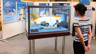有人潜水調査船「しんかい6500」の模型などが展示されるGODACパネル展=那覇市・県立図書館