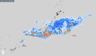 9日午後4時半時点の雨雲の動き(気象庁HPから引用)