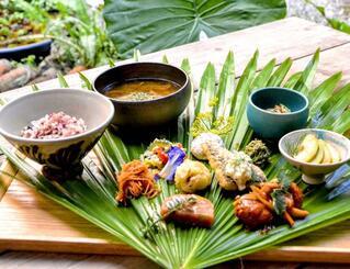 県産食材を使ったさまざまなビーガン料理を一度に楽しめる島の五穀御膳(浮島ガーデン提供)