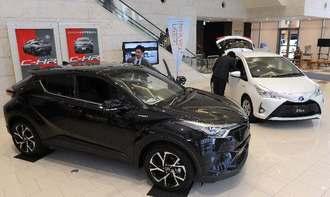 タイムスビルで開催中のトヨタ新型VitzハイブリッドとC―HR展示会、26日までです。