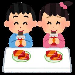 幼稚園などでオヤツの時間にお菓子を食べている子供たちのイラスト