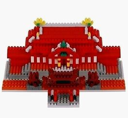 5ミリ以下の超ミニサイズのブロック「ナノブロック」で作られた首里城(カワダ提供・(C) KAWADA 2020)