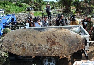 【資料写真】2014年1月に糸満市で回収された不発弾