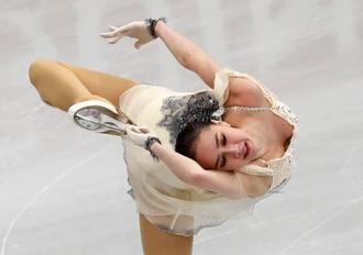フィギュアの欧州選手権、女子ショートプログラムで演技するアリーナ・ザギトワ=23日、ミンスク(AP=共同)