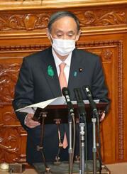 参院本会議で、訪米について報告する菅首相=21日午前