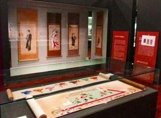 韓国で開幕した「琉球王国の至宝」展の展示風景(園原謙さん撮影)=韓国・ソウルの国立古宮博物館
