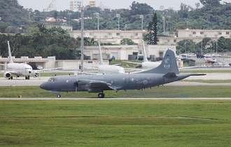 米軍嘉手納基地に飛来したカナダ空軍の哨戒機=30日午後1時26分(読者提供)