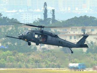 嘉手納基地所属のHH60救難ヘリ=2013年8月