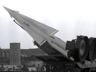 (資料写真)「核ミサイル」ナイキ・ハーキュリーズ対空ミサイル=1963年