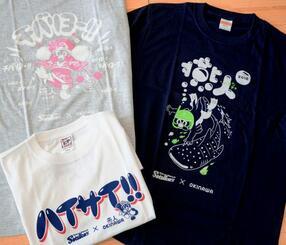 4kakeの池城安司代表らがデザイン、制作した、東京ヤクルトスワローズ公認グッズの「燕人」Tシャツ