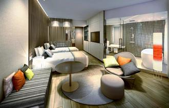 「JR九州ホテル ブラッサム那覇」のプレミアムツインルームのイメージ(JR九州ホテルズ提供)