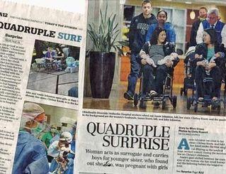 4つ子の誕生を伝えるオハイオ州の地元紙。全米メディアでも大きく報道された