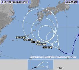 台風5号の進路予想図(気象庁HPより)