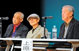 生前の金城哲夫さんとの思い出を語る(右から)上原正三さん、森口豁さん、中野稔さん=南風原町立中央公民館