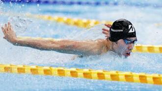 男子200メートル個人メドレーを1分57秒67で制した萩野公介のバタフライ=東京アクアティクスセンター