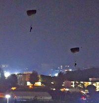 「天候不良」で中止決定 嘉手納基地でのパラシュート降下訓練