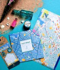 ゼンリンが「mati mati」シリーズの一つとして発売した、那覇市の中心部の地図をデザインしたクリアファイルや付箋、マスキングテープ、ノートパッド