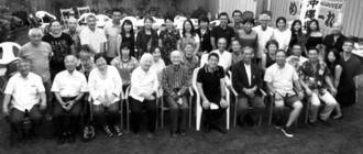 奥間トーマス会長宅でのバーベキューパーティーで議員団をもてなしたバンクーバー沖縄県友愛会