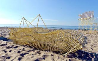 テオ・ヤンセンさんが造る「ストランドビースト」(浜の生き物)=2016年9月、オランダ(戌亥近江さん提供)